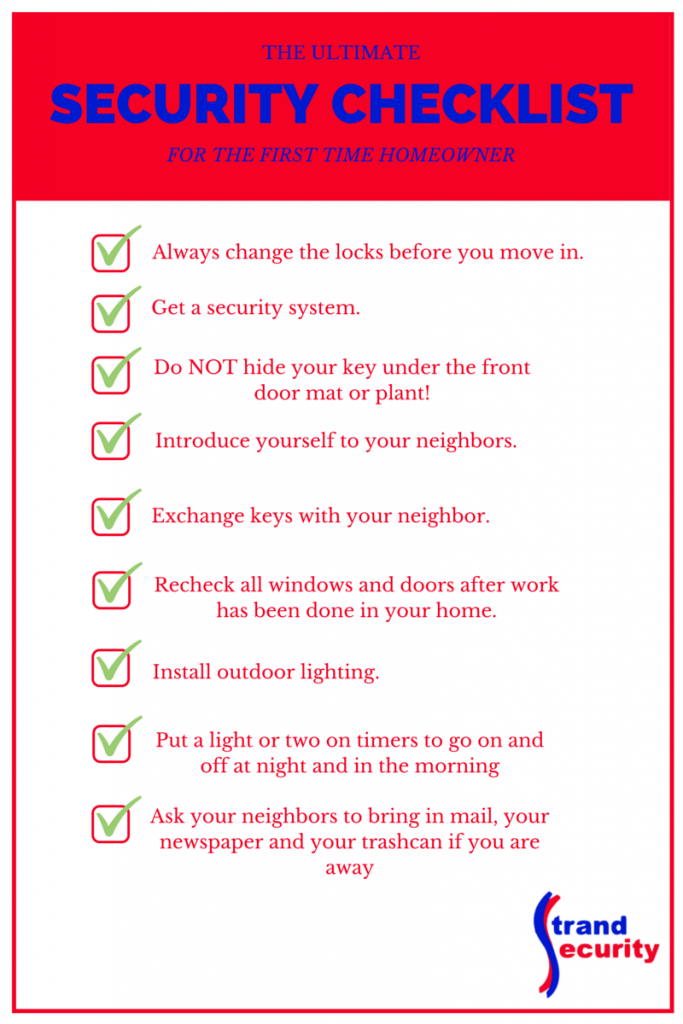 Security Checklist for the First Time Homeowner