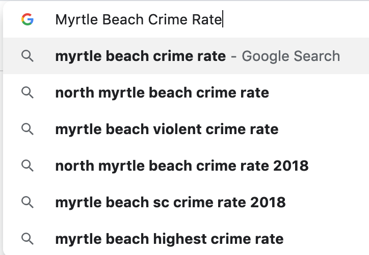 Myrtle beach Crime rate google search